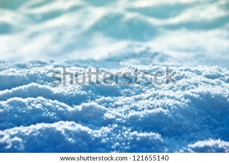 Snow landscape at sunset. Christmas theme. Soft focus - stock photo