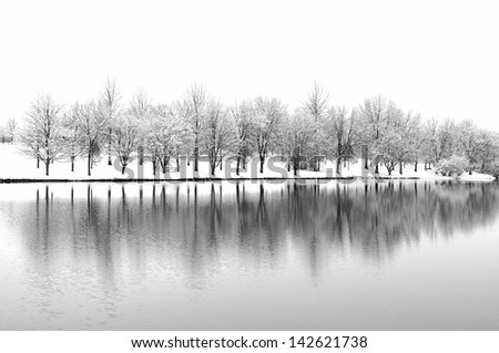 Snow Landscape with Tree Reflections - stock photo