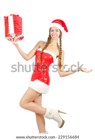 Snow Maiden in red dress holding a box with a gift. Isolated on white - stock photo