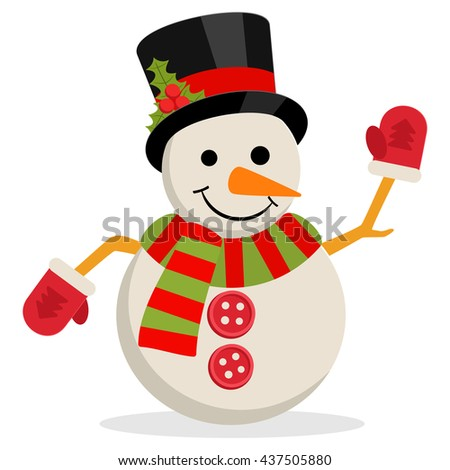 Snow Man in hat with holly branch. illustration isolated on white. Merry christmas concept with snowman in scarf gloves and cylinder hat