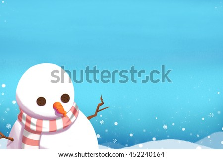Snow Man under the Clear Winter Sky with Snowflakes. Creative Idea, Innovative art, Concept Illustration, Greeting Card Background, Cartoon Style Artwork  - stock photo