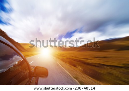 Snow mountain and road - stock photo
