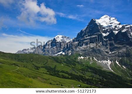 Snow mountain in switzerland - stock photo