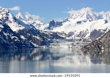 Snow Mountain on Water - stock photo