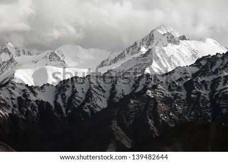 Snow mountain range, Leh Ladakh, India - stock photo
