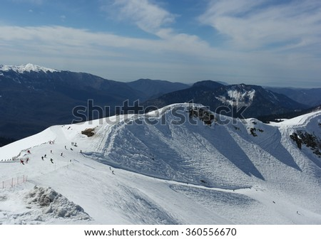 Snow mountain, ski, winter landscape, Sochi, Russia - stock photo