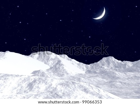 Snow mountain tops against the night sky
