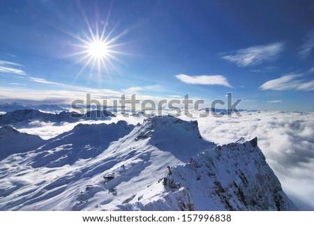 Snow mountain, Zugspitze, Germany  - stock photo