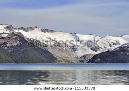 snow mountains around Garibaldi Lake in Autumn - stock photo