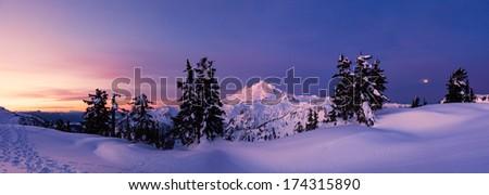 Snow Mountains at Dawn - stock photo