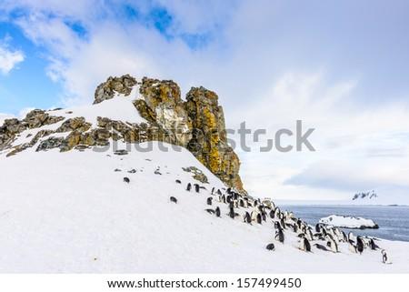 Snow mountains of the Half Moon Island, an Antarctic island, the South Shetland Islands of the Antarctic Peninsula region. - stock photo