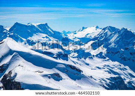 Snow mountains view with clear sky at Jungfraujoch, Switzerland