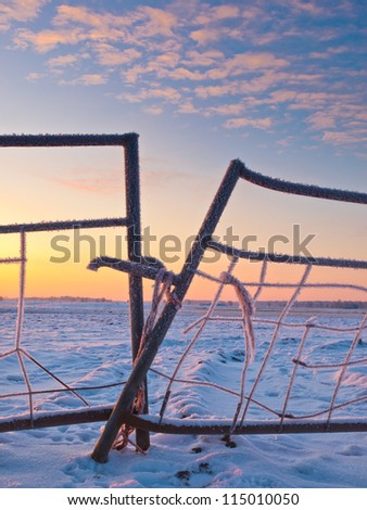 Snow on a gate in winter landscape during sunrise - stock photo