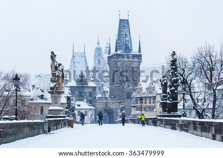 Snow on Charles Bridge, winter 2015 Prague, Czech Republic