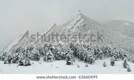 Snow On The Flatirons, Boulder Colorado - stock photo