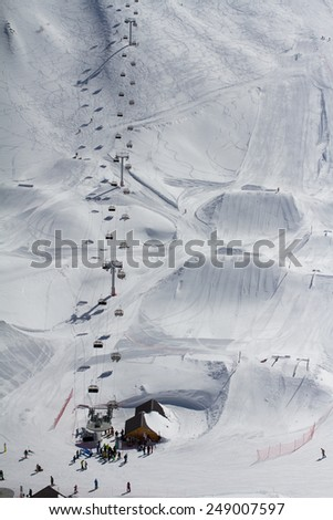 Snow park in mountain ski resort, Sochi, Russia