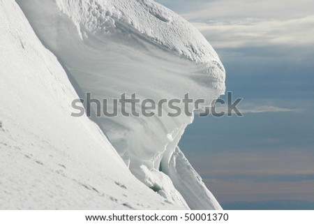 Snow peak view from winter hiking. - stock photo