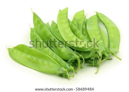 Snow peas isolated on white background - stock photo