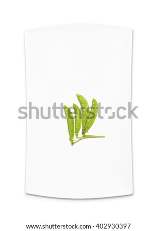 snow peas on white background?Top view of snow peas