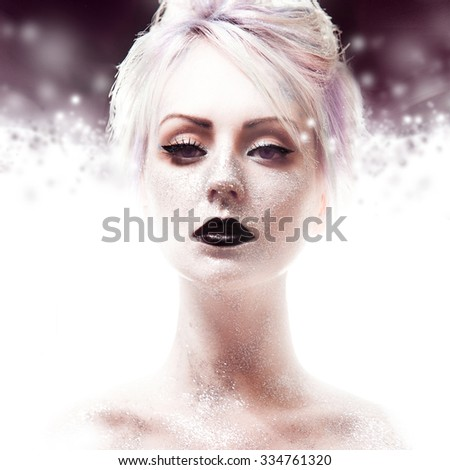 Snow Queen, creative closeup portrait of girl with black lips - stock photo