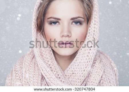 Snow Queen, creative closeup portrait on white. studio shoot - stock photo