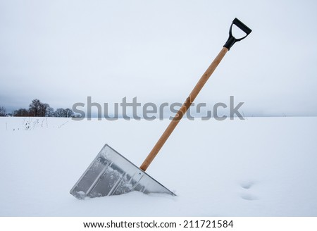 Snow removal shovel - stock photo