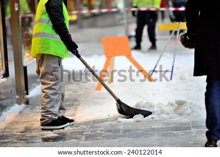 Snow removers - stock photo