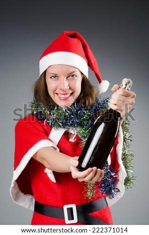 Snow santa girl in christmas concept - stock photo