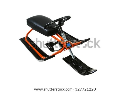 Snow-scooter isolated on white background - stock photo