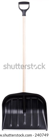 snow shovel spade. isolated on white background in studio. - stock photo