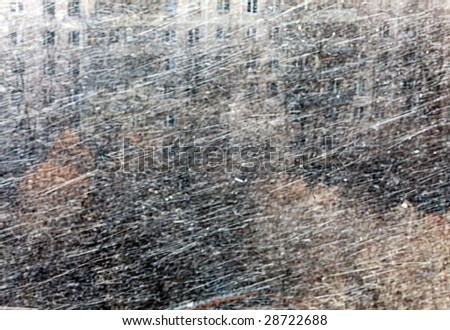 Snow storm on the street cities in April - stock photo