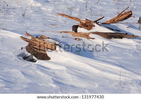 snow surface of the  ground - stock photo