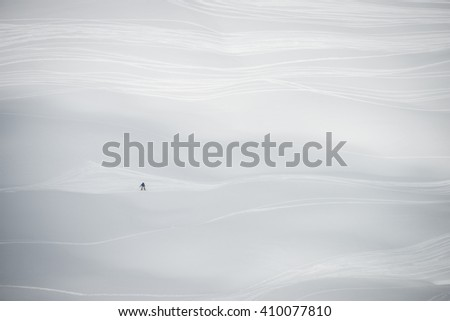 Snow tracks in Whistler mountain's Symphony area - stock photo