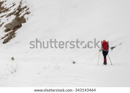 snow trekkers on alps mountain