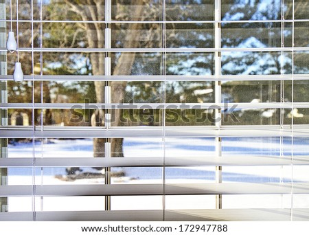 Snow view from inside home looking out through blinds - stock photo
