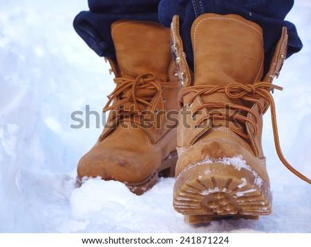 snow walk  - stock photo