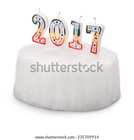 Snow White cake with candles. 2017. On white background. Clipping path.  - stock photo