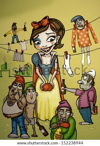 Snow White. Illustration of Snow White with bruises and messy seven dwarfs. Colorful fairy tale illustration.  - stock photo