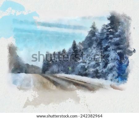 Snow winter road - stock photo