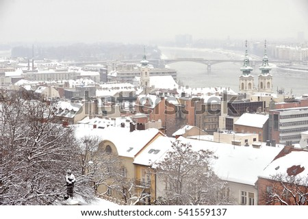 Snow winter View on the Old Fisherman Bastion in Budapest