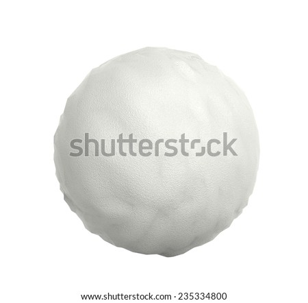 Snowball closeup isolated on white background 3D render. - stock photo