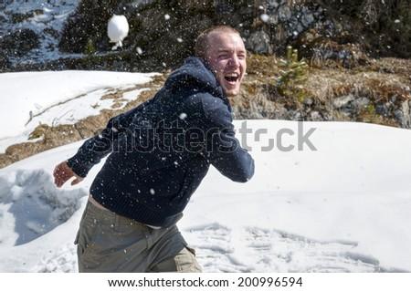 Snowball fight - stock photo