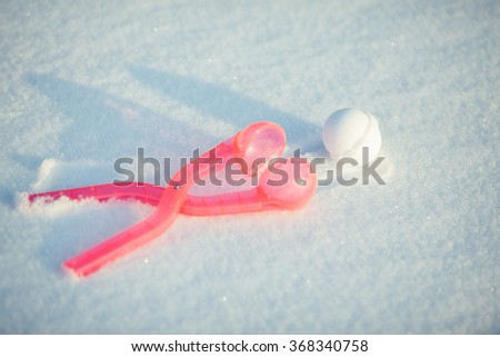 snowball in white back with shadow - stock photo