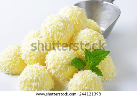 Snowball Truffles (White Chocolate Coconut Truffles) - stock photo