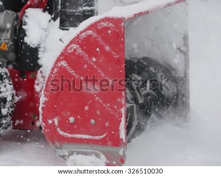 snowblower in winter snowblower snow blower - stock photo