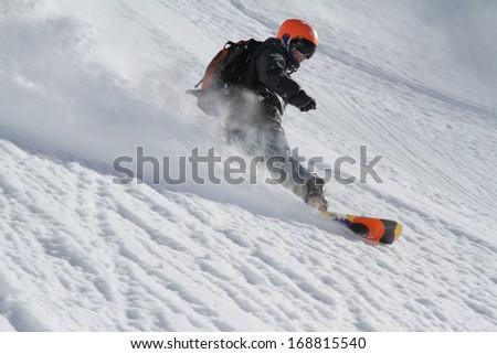 Snowboard freerider - stock photo