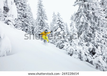 Snowboard freerider having fun on ski slope against beautiful trees in Alps - stock photo