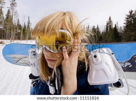 snowboard girl  over the white background - stock photo