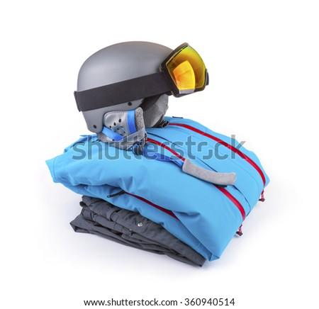 snowboard, ski clothing set isolated on white - stock photo