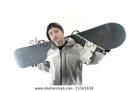 Snowboarder holding board on shoulders, isolated - stock photo